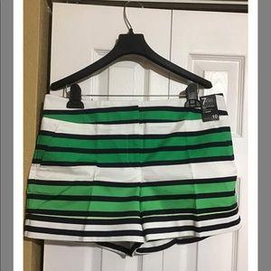 New York & Co blue green & white striped shorts 8